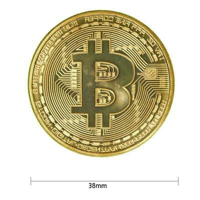 Gold Plated Bitcoin Commemorative Round Collectors Coin Bit Coins Gift With Case