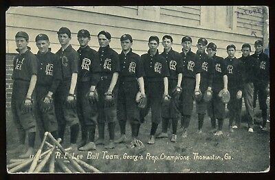1910's Robert E. Lee Prep School Thomaston, GA Baseball Team RPPC Postcard