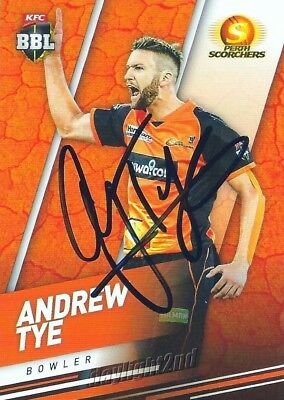 ✺Signed✺ 2018 2019 PERTH SCORCHERS Cricket Card ANDREW TYE Big Bash League