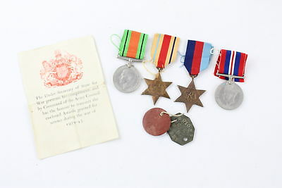 7 x Vintage WW.2 CAMPAIGN MEDALS, Award Note, Wax Packet & I.D Tags
