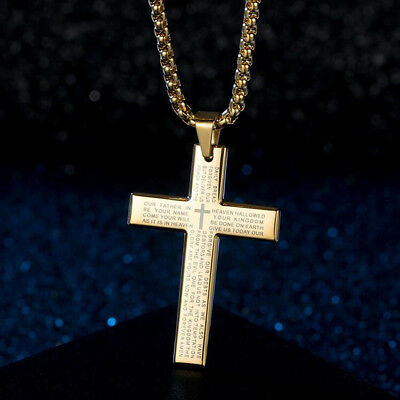 Hip Hop Men's Stainless Steel Bible Cross Pendant Necklace Box Chain 23""