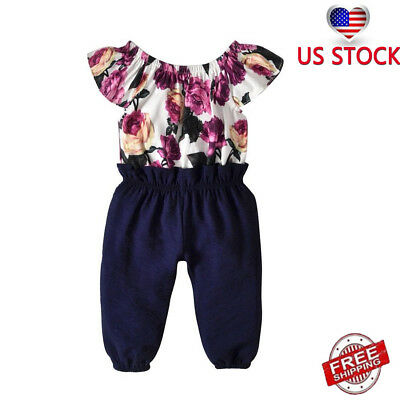 US Kid Toddler Baby Girl Floral Clothes Jumpsuit Romper Bodysuit Overall Outfits