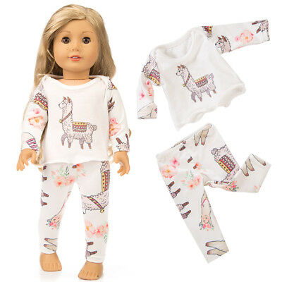 Cute Printing Pajamas Suit Doll Clothes for 18 Inches Girl Doll Accessories Gift