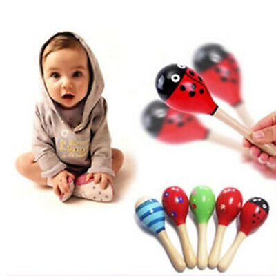Colorful Wooden Maracas Baby Child Musical Instrument Rattle Shaker Kids Toy