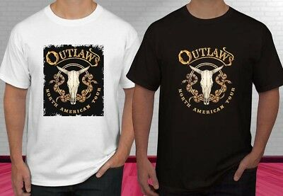 The Outlaws Country Rock Band Legend Logo Men/'s White T-Shirt Size S to 3XL