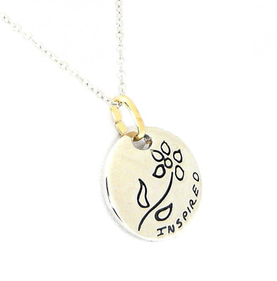 benerini Shiny Silver Colour Disc Pendant Necklace With Flower Design & The Word