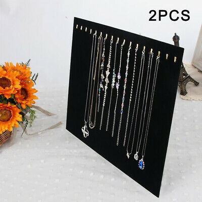 2x Velvet Necklace Chain Jewelry Display Holder Stand Easel Organizer Rack Black