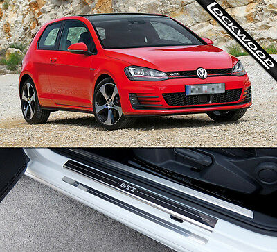 VW Golf Mk7 GTi (Released 2013) 2 Door Stainless Sill Protectors / Kick Plates