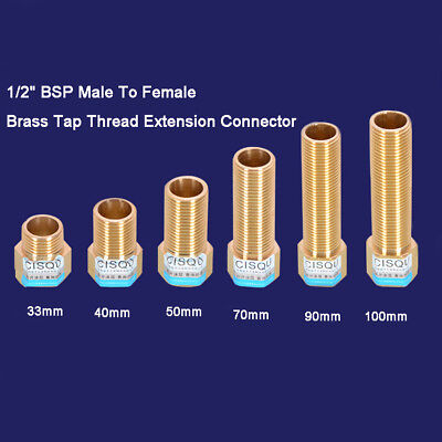 """1/2"""" BSP Male To Female Brass Tap Thread Extension Connector Fittings Adapters"""