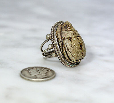 Antique Egyptian Revival Silver Massive Carved Scarab Ring c. 1920s Heavy 6.75-7