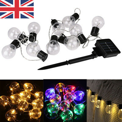 Solar Powered Retro LED Bulb String Lights For Garden Outdoor Fairy Party Lamps