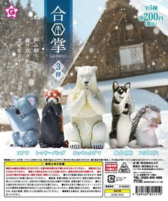 Yell Capsule Animal GASSHO Tier Beten Praying Spielzeug P3 Completed Set 5pcs