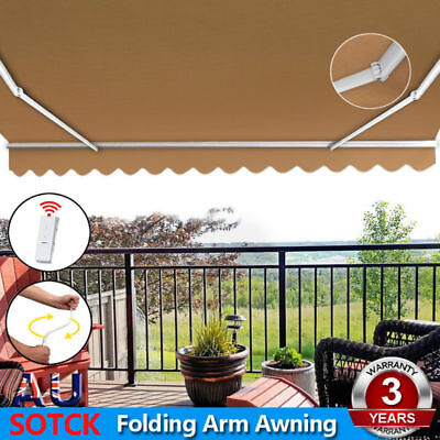 Instahut Motorised 4x3m Folding Arm Awning Retractable Outdoor Beige Sunshade
