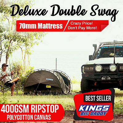 Deluxe Double Swag Big Daddy Dome Canvas Free Bag Free Standing Aluminium poles