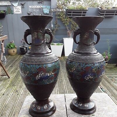 Antique Pair Of Cloisonne Vases