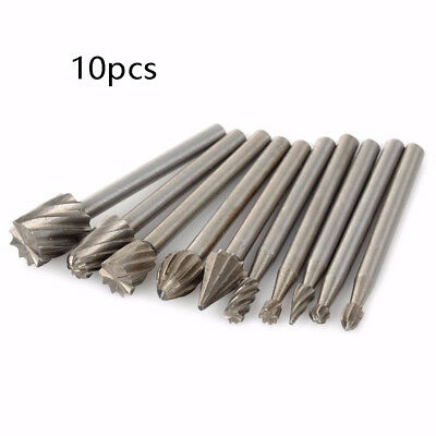 10PCS DIAMOND GRINDING Heads Mini Drill Burrs Bit Set 3mm Shank For Rotary  Tool