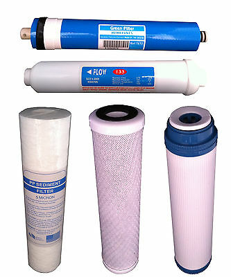 Reverse Osmosis Complete 5 Stage Replacement Water System Ro Filters X 5