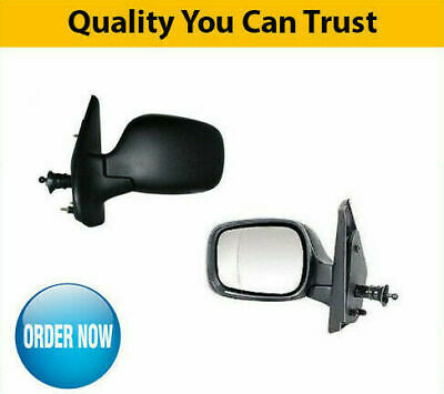 Right DRIVER SIDE OS Door Wing Mirror Manual Glass Black Cover Renault Kangoo