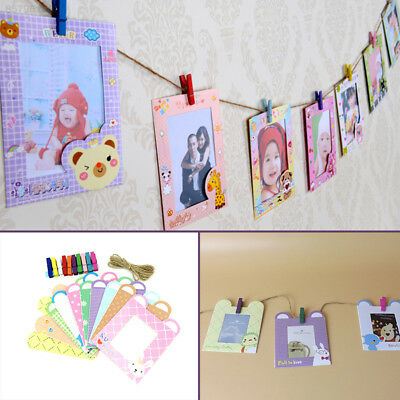 0ACD 10Pcs/1Set Hanging Paper Photo Frame Film Album Picture Wall Decor Rope Ran