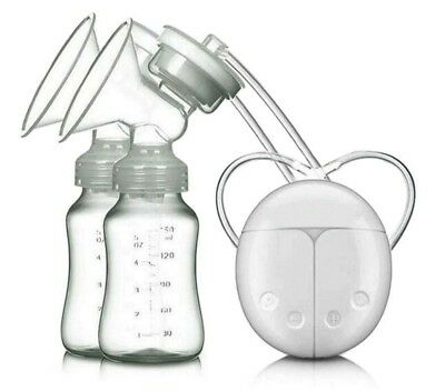 USB Electric Double Breast Pump Safe Powerful Nipple Suction with Milk Bottle