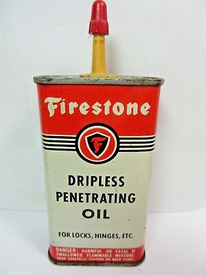VINTAGE 1950-60's FIRESTONE DRIPLESS PENETRATING OIL TIN CAN HANDY OILER