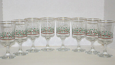 8 Christmas Holly Berry Goblet Set made by Libbey for Arby's 1986