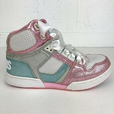 cf0a548b256 Osiris Girls High Top Shoes Sneakers Glitter Sparkle Bling Multi Color Sz 4