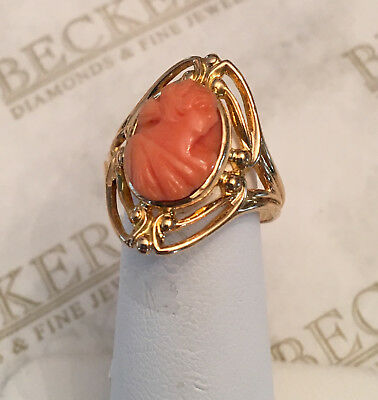 Art Deco 10k yg Carved Coral Cameo Ring with Open Scroll Top, size 6.5