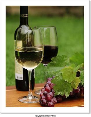 One Glass Of White Wine And Red Wine Art Print Home Decor Wall Art Poster - C