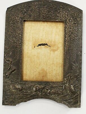 Antique Asian /Japanese Silvered Metal  Relief Geese & Blossom Photograph Frame
