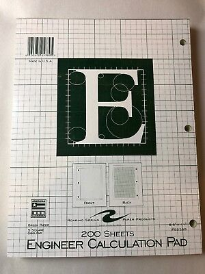 Engineer Pad 8.5x11 Green, 200 sheets, Engineering Paper