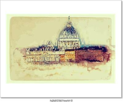 St Peter/'s Cathedral At Night C Rome Art Print Home Decor Wall Art Poster