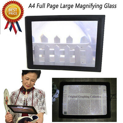 A4 Full Page Large Sheet Magnifier Magnifying Glass Reading Aid Lens Fresnel Ne