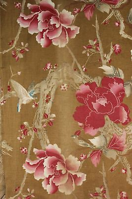 Antique French Japonisme printed cotton fabric c1900 RARE curtain drape
