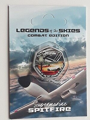2018 RAF SUPERMARINE SPITFIRE, Legends Of The Sky, 50p sized silver plated coin.