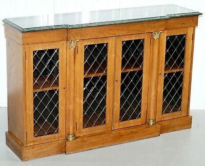 Regency Rosewood Jade Green Marble Top Library Bookcase Cabinet Brass Inlaid