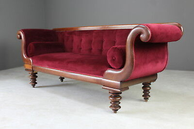 Antique Victorian Upholstered Scroll Arm Sofa Settee Chaise