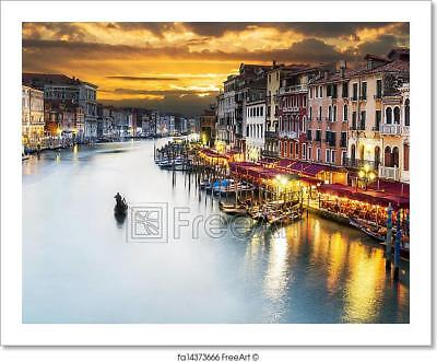 Grand Canal At Night, Venice  Art Print Home Decor Wall Art Poster - C