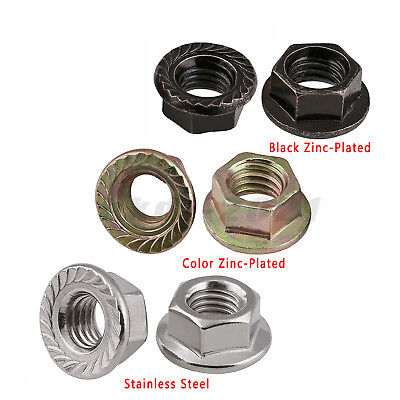 M4 Hex Serrated Flange Nuts Flanged Nut Zinc-Plated Steel A2 A4 Stainless Steel