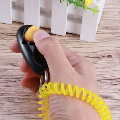 Dog Button Clicker Trainer Pet Training Aid with Wrist Strap Dogs Obedience Tool