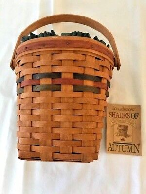 "Vintage Longaberger 1993 ""Shades of Autumn"" Wall Basket with Liner & Protector"