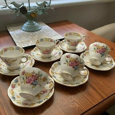 Vintage pretty handcoloured FOLEY 1900's set of 4 small tea/coffee CUPS/saucers