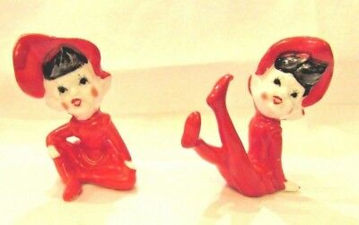 Vintage RED Bone China Christmas ELVES - PAIR - Japan NEW OLD STOCK