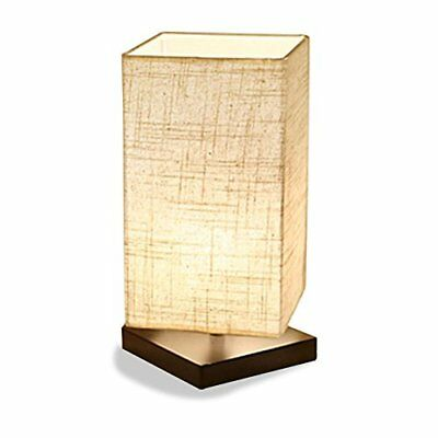 Japanese Style Square Bedside Table Lamp with Solid Wood Stand Fabric Shade
