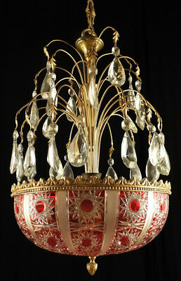 Antique french empire style bronze chandelier Original central carved glass red
