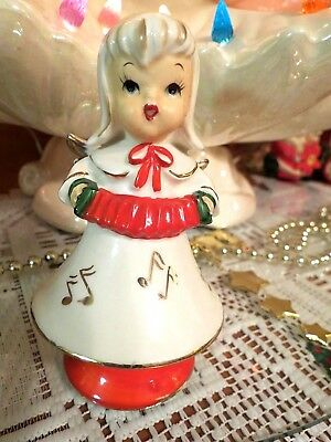 Vtg Lefton Christmas Marika's Original Bobble Angel #4801 With Red Accordion