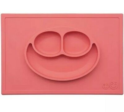 EZPZ Happy Mat One Piece Silicone Suction Placemat Plate Coral Red Therapy Tools