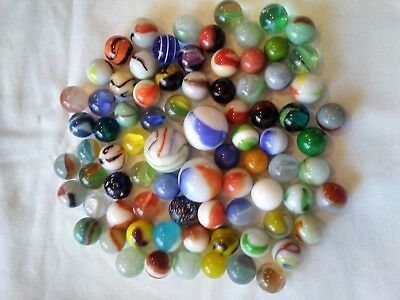 80 MIXED VINTAGE TO ANTIQUE MARBLE LOT Shooters & assorted sizes (3)
