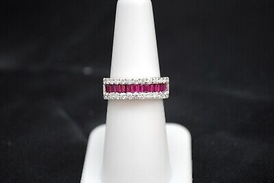 Beautiful 1Ct Diamond And Ruby Band In 14K Gold, Size 6.5