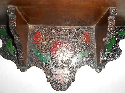 Antique Ornate Poker-work Hand made Corbel Shelf Bracket